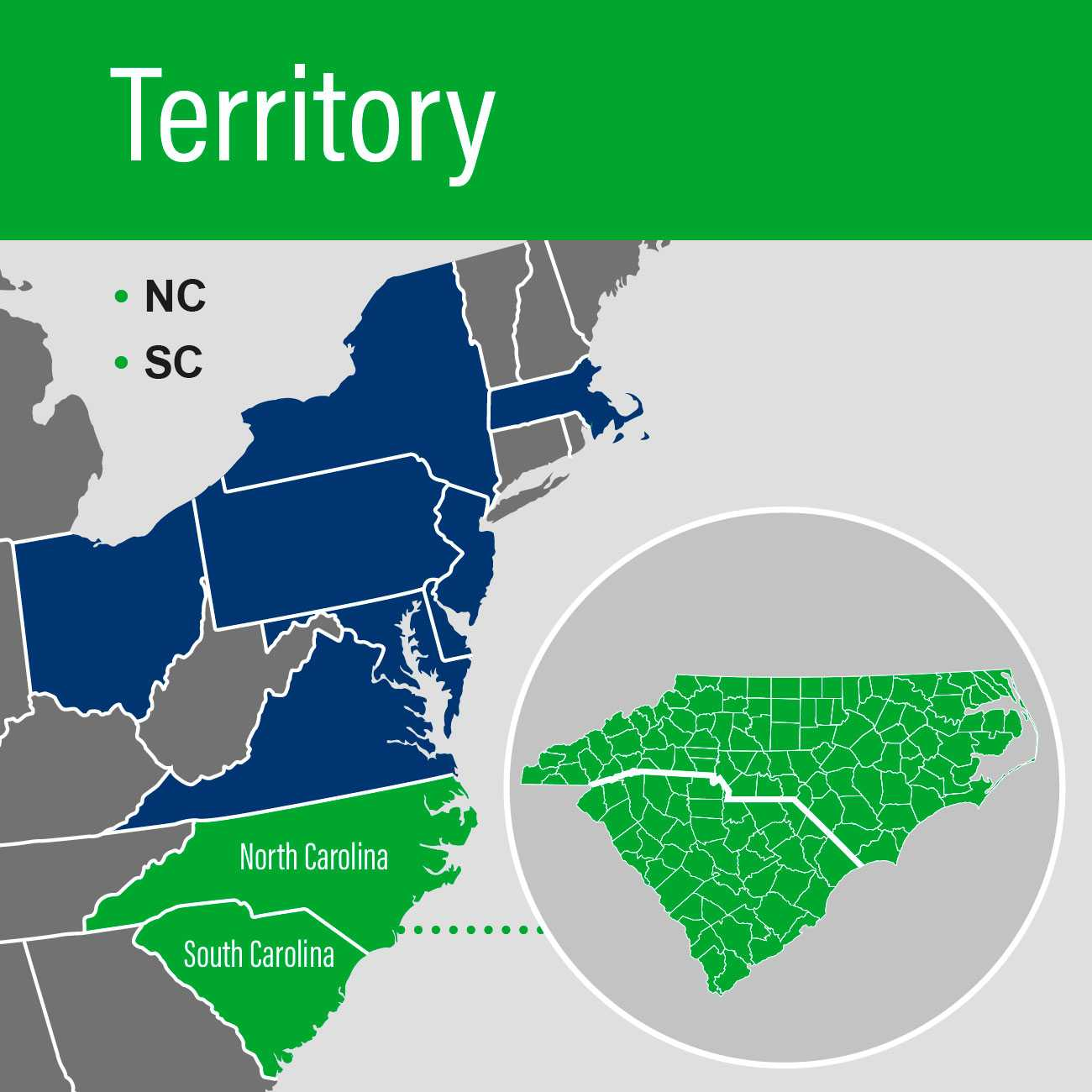 Territory Map highlighting North Carolina and South Carolina