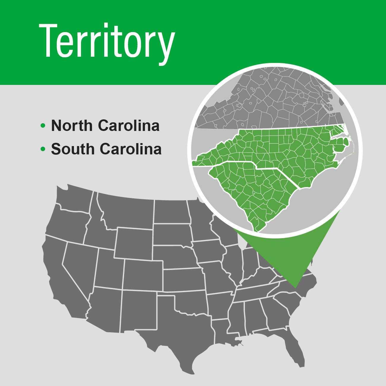 Territory Map highlighting North Carolina and South Carolina
